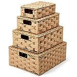 EZOWare 4er Set Rattankorb aus gewebtem Papierseil mit Deckel, Dekorative Regal Körbe, Aufbewahrungsbox Rattan für Aufbewahrung von Haushaltsgegenständen - Beige