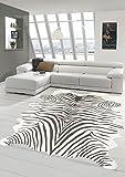 Merinos Zebra Teppich Fellimitat Zebrafell Teppich Kunstfell in Beige Größe 150x200 cm