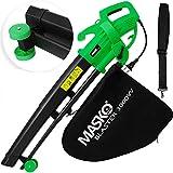 MASKO® Elektro Laubsauger | 3 in 1 | 3000W | Schultergurt und Rollen | Fangsack 45L | Laubbläser Gartensauger Gartenbläser Grün