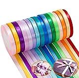 16 Roll Satinband Geschenkband - Seidenband Geschenkbänder Dekoband (400 Yards 10mm), Stoffband Schleifenband Bunte Bänder für Basteln Geschenk DIY Haarbänder Hochzeit Party Decor
