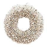 COURONNE Naturkranz Deko Ø25cm in weiß, gefertigt aus Bakuli-Früchten | Türkranz ganzjährig zum hängen oder als Tischdekoration im Shabby chic Design | Zeitloses Wohnaccessoir als Landhaus Natur-Deko