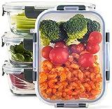 Zoë&Mii Lebensmittelbehälter aus Glas 8 teilige Set 880 ml - Hochwertige und luftdichte Glasschalen BPA-frei - Frischhaltedosen Vorratsdosen mit Smart Lock Deckel - Meal Prep, Glasschüssel mit Deckel
