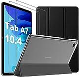 IVSO für Samsung Galaxy Tab A7 Hülle + für Samsung Galaxy Tab A7 Panzerglas[2 Stücke], Hülle mit Displayfolie für Samsung Tab A7 10.4, Cover für Samsung Galaxy Tab A7 (Black)