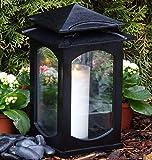 ♥ Grablaterne Grablampe Klara Premium XL Massiv 28,0 cm mit Grabkerze Grabschmuck Grableuchte Grablicht Laterne Kerze Lampe