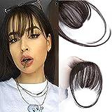 Clip in Pony 100% Remy Echthaar Perücke Fringe Bangs One Piece Haarteil In Front Hair Extension Verlängerung Natürliche Flache Pony Glatt Schwarz VD042B