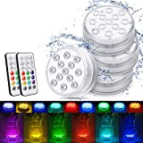 Magicfun Unterwasser Licht, Wasserdichtes LED Licht, mehrfarbige RGB-13-LED-Perlen mit RF-Fernbedienung, Poollampe für Swimmingpool, SPA, Vasenbasis, Aquarium, Teich, Inneneinrichtung (4 Stk)