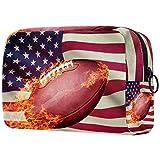 Reise-Make-up-Tasche Große Kosmetiktasche,American Football Ball-Amerikanische Flagge ,Make-up-Tasche Organizer für Frauen und Mädchen
