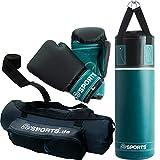 ScSPORTS Boxsack-Set, für Kinder und Jugendliche, Box-Set mit Boxhandschuhen, Boxbandagen und Tasche, 5,5 kg, Petrol-blau schwarz