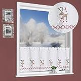 Scheibengardine WEIHNACHTSELCH Kreuzstich Stickerei Elche 45x115 cm auf Batist in natur Panneau Gardine Weihnachtsgardine Weihnachten Bistrogardine ÖKOTEX Typ507