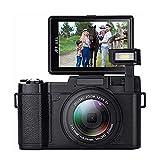 Digitalkamera, 24,0 MP Nachtsicht-Camcorder 3,0 Zoll 180 ° drehbarer Bildschirm Vlogging-Kamera Digitalzoom-Video mit Blitzlicht HD 1080P Digital-Camcorder