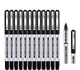 Tintenroller Stifte, Surcotto 12 Stück 0,5 mm schwarze Gelstifte, glatter Kugelschreiber, schnelltrocknende Flüssigtinte