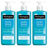 Neutrogena Hydro Boost Body Lotion Gel, erfrischende und ultraleichte Körperlotion für trockene Haut mit Hyaluron (3 x 400 ml)