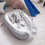 Fascol Kuschelnest Babynest 90x50 cm mit Kissen, Babynestchen 100% Baumwolle, 2seitig, Nestchen Reisebett für Babys