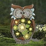 La Jolíe Muse Gartendeko Eule Solar Leuchte, aus Kunstharz Wetterfest, Geschenk Eule, Gartenfigur Ornament für draußen Hof & Balkon H27 x W16cm