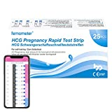 Femometer 25 x Schwangerschaftstest frühtest mit Urinbecher, Genaue Ergebnisse mit smarter App, optimaler Sensitivität, Automatische Erkennung der Testergebnisse,hcg sst, 3,5 mm breit