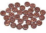 Handarbeit-Lieblingsladen 50 Stück Holzknöpfe 15mm 4-Loch rund kaffeebraun braun Knöpfe basteln