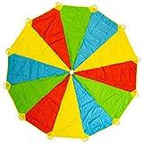 12ft/ 3.6m Schwungtuch Fallschirm Spielzeug - Regenbogen Parachute 24 Griffen Gymnastik Geschicklichkeit Turnen - ideale Aktivität in Innenräumen für Kinder - für stundenlanges Spiel und Unterhaltung