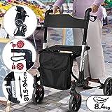 Rollator 3-fach Faltbar und Leicht - Sitz mit Rückenlehne, 4 Räder/Bremsen/Einkaufstasche & Stockhalter, Höhenverstellbar - Gehhilfe, Laufhilfe, Gehwagen, Leichtgewichtrollator