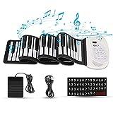 Hricane Roll Up Piano Keyboard, tragbare elektronische Tastatur mit 61 Tasten, Pedal und Bluetooth, USB-Akku, eingebaute MIDI-Lautsprecher und Mikrofon, für Kinder Erwachsene Anfänger