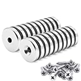 20 Stück Neodym Scheiben Magnete 25 x 5 mm, Senkkopf Loch, 10 kg Zugkraft mit 20 Schrauben