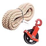 Seilwerk STANKE 125mm Umlenkrolle mit Haken + Juteseil 16mm 15 Meter Seilwinde Seilzug Seilrolle Windenrolle Flaschenzug Baurolle Bau Aufzug SET