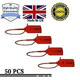 Hergestellt in Großbritannien, nummeriert, rot, manipulationssichere Verschlüsse, Sicherheitsschild, Sicherheitsetiketten, manipulationssichere Verschlüsse