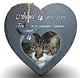 Individueller Personalisiert Herzform Tiergrabstein Schiefer Gedenkstein für Hund, Katze und andere Haustiere Tiere - Größe | 25 x 25 cm | - Herz und Engel