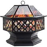 Dawoo Feuerschale für den Außenbereich, sechseckiger Feuerkorb Garten feuerschale ,feuerstelle (60X65 cm)