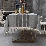 Pahajim Einfache Moderne Streifen Tischdecke Quaste Tischdecke,Baumwolle Leinen Elegante Tischdecke waschbare Küchentischabdeckung für Speisetisch (Grau Streifen,Rechteckig/Oval,140x220cm)