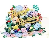 MOKIO® Pop-Up Geburtstagskarte [NEU!] – Happy Birthday Blumen – 3D Glückwunschkarte zum Geburtstag, handgefertigte Gutschein Klappkarte mit Umschlag