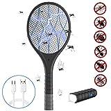 Elektrische Fliegenklatsche Insektenvernichter Fliegenfänger 3800V mit LED Licht und USB 1200mA Wiederaufladbarer Akku für Drinnen und Draußen