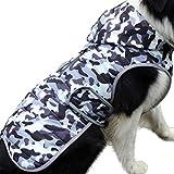 JoyDaog Fleece Hund Hoodie für mittlere Hunde warme Welpenjacke für kalten Winter wasserdichte Hundemäntel mit Kapuze,Weiß Tarnung M