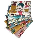 N A 6 Stück Baumwollstoff 100% Baumwolle Nähstoffe mit verschiedenen Muster Patchwork DIY Stoffpaket 46x56cm Zugeschnittene Stoff Quadrate zum Nähen Handwerk Deko Katze