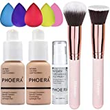 PHOERA Foundation (Nude #102 +Buff Beige #104) & Makeup Primer,Concealer Cover Flüssigmatt Full Coverage, Make Up Foundation Pinsel and Puder Pinsel,5 teiliges Make up Schwamm Set,Value Pack 10 PCS