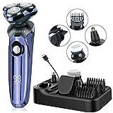 Rasierer Herren Elektrisch 4D Elektrischer Nass- und Trockenrasierer IPX7 Wasserdicht Rasierapparat Elektrorasierer LED-Display Präzisionstrimmer 4 IN 1 Haarschneidemaschine mit USB & Ladestation
