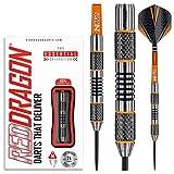 RED DRAGON Amberjack 5: 24g – 90% Tungsten Darts (Steel Dartpfeile) mit Flights, Schäfte und Brieftasche
