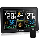 Kalawen Wetterstation mit Außensensor Innen und Außen 9-IN-1 Funk Wetterstation mit Farbdisplay Digital DCF-Funkuhr Thermometer Hygrometer Regenmesser und Uhrzeit Anzeige für Zuhause Büro Hausgarten