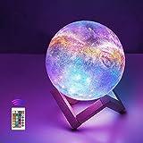 12cm LED Mond Lampe mit Fernbedienung,OxyLED Sternenhimmel Dekoleuchte 3D Mond Kunst LED RGB Mondlampe tragbares Nachtlicht mit Dimmbar,16 Lichtfarben Wechsel,Weihnachten,Geburtstag