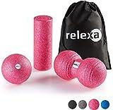 relexa Faszien Set Mini, 3-teiliges Ganzkörper Trainingskit, mit Faszienrolle, Twinball & Faszienball, flächige und punktuelle Selbstmassage, inkl. Faszien-eBooklet, in Pink
