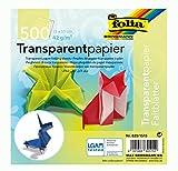 folia 825/1515 - Transparentpapier - Faltblätter, 15 x 15 cm, 500 Blatt, 42 g/qm, sortiert in 10 Farben - ideal für wunderschöne Faltfiguren und -formen