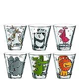 Leonardo Bambini Trinkglas, 6-er Set, mit Tier Motiven, Kinder Becher, spülmaschinengeeignet, 017906