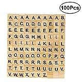 ROSENICE 100 Buchstabe Fliesen Holz Alphabet Fliesen für DIY Handwerk Buchstabieren Scrapbooking