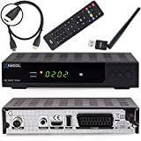 Anadol HD 202c Plus digitaler Full HD 1080p Kabel-Receiver [Umstieg Analog auf Digital] (HDTV, DVB-C / C2, HDMI, SCART, Coaxial, Mediaplayer, USB 2.0) – inkl. HDMI Kabel & WLAN USB Stick schwarz