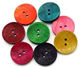 Sadingo Holzknöpfe 30mm, Deko Knöpfe, Bunte Knöpfe Rot Grün Gelb Blau Pink - Große Kinderknöpfe Basteln Nähen, 50 Stück