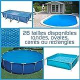 Linxor ® Pool Solarfolie Solarabdeckplane Poolheizung, rund, oval, Quadrat oder rechteck, 180 μm, für Pools von Intex oder Anderen Herstellern / 26 verfügbare Größen/EG-Norm