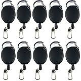 AMACOAM 10 Stück Schlüssel Jojo Ausweis Jojo mit Gürtelclip Schlüsselband Ausziehbar Schlüsselanhänger Ausziehbar Key mit Extra Starker Feder und Reißfester Schnur für Schlüssel Ausweise, Schwarz