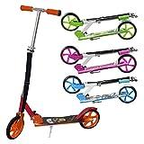ArtSport Scooter Cityroller Fire Big Wheel 205 mm Räder klappbar höhenverstellbar – Kinder-Roller ab 6 Jahre - Tretroller bis 100kg – schwarz/rot