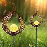 Solarlampen für Außen, Innoo Tech 2 Stück LED Solarleuchten mit Wasserdichte IP65 Wasserdicht, Metall Solarlampe Garten Solarleuchten für Garten, Terrasse, Hinterhöfe und Wege