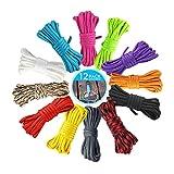 Paracord Schnüre Set, NETUME 12 Farben 550 Paracord Seile Set/Paracord Bänder für Kinder Erwachsene DIY Armband,Hundehalsband,Schlüsselanhänger,Anhänger, Typ III 4mm Survival Fallschirm Schnur