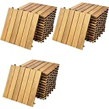 Deuba 33x Holzfliesen Akazie FSC®-zertifiziertes Akazienholz 3m² Fliese 30x30 cm Stecksystem Mosaik Zuschneidbar Terrasse Balkon